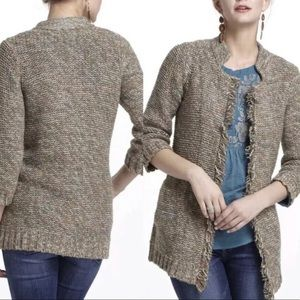 ANTHROPOLOGIE Sparrow Marled Peat Knit Cardigan